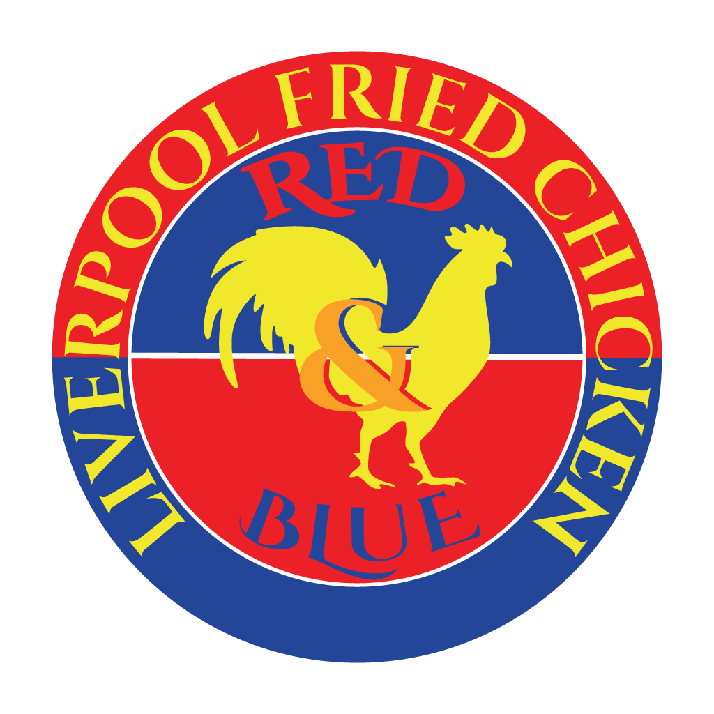 Red and Blue Fried Chicken Online Takeaway Menu Logo